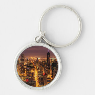 Night cityscape of Chicago Silver-Colored Round Key Ring