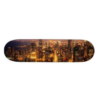 Night cityscape of Chicago Skate Board