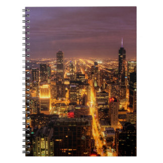 Night cityscape of Chicago Spiral Notebook