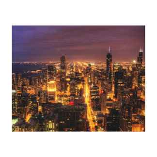 Night cityscape of Chicago Stretched Canvas Prints