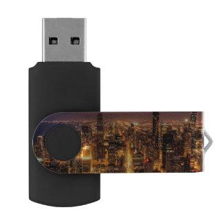 Night cityscape of Chicago Swivel USB 2.0 Flash Drive