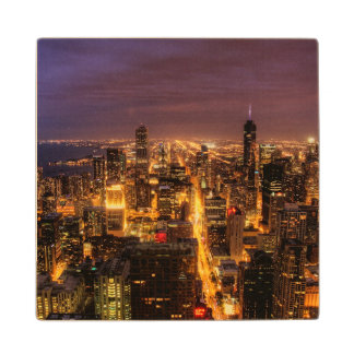 Night cityscape of Chicago Wood Coaster