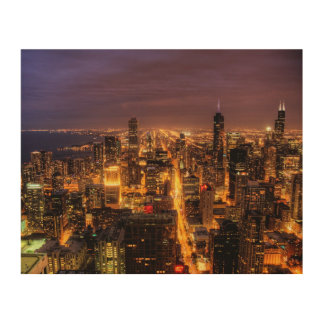 Night cityscape of Chicago Wood Print