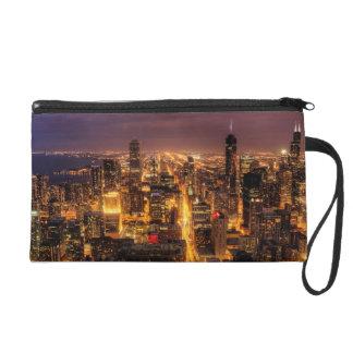 Night cityscape of Chicago Wristlet