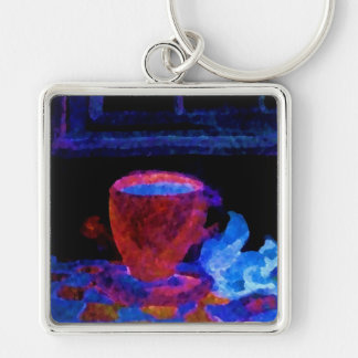 """Night Coffee""  CricketDiane Art & Design Silver-Colored Square Key Ring"