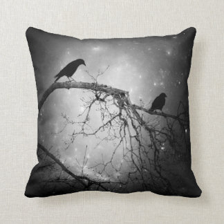 Night Crows Among The Stars Throw Pillow