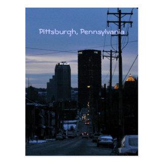 Night Falls on Pittsburgh, PA Postcard