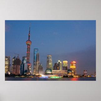 Night falls on Shanghai China Print