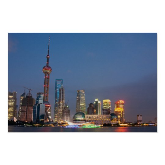 Night falls on Shanghai China Poster
