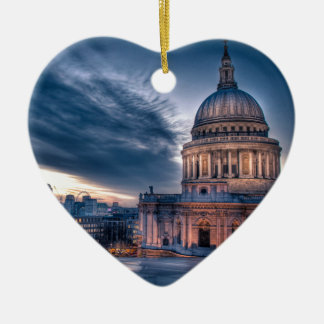 Night falls over St. Paul's Cathedral, London Ceramic Heart Decoration