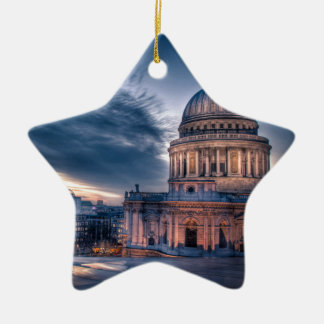 Night falls over St. Paul's Cathedral, London Ceramic Star Decoration
