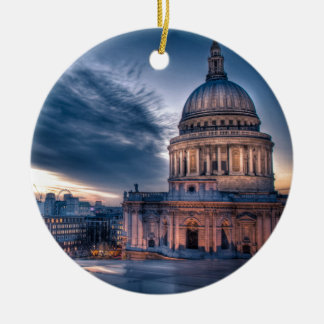 Night falls over St. Paul's Cathedral, London Round Ceramic Decoration