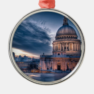 Night falls over St. Paul's Cathedral, London Silver-Colored Round Decoration