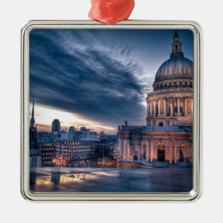 Night falls over St. Paul's Cathedral, London Silver-Colored Square Decoration