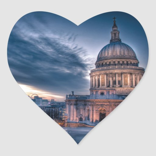 Night falls over St. Paul's Cathedral, London Heart Stickers