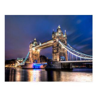 Night falls over Tower Bridge Postcard
