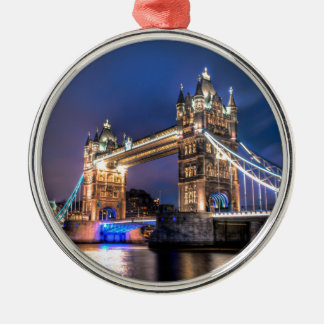 Night falls over Tower Bridge Silver-Colored Round Decoration
