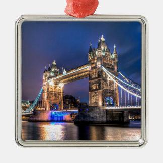Night falls over Tower Bridge Silver-Colored Square Decoration