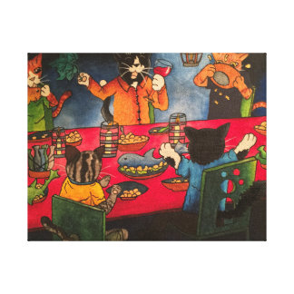 Night Feast Cats Canvas Print