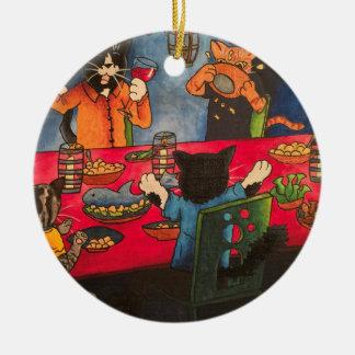Night Feast Cats Round Ceramic Decoration