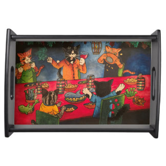 Night Feast Cats Serving Tray