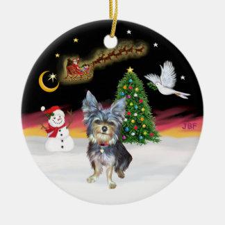 Night Flight - Australian Terrier (#2) Round Ceramic Decoration