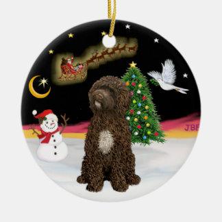 Night Flight -Brown Portuguese Water Dog Christmas Ornament