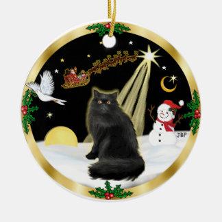 Night Flight (GW) - Black Persian cat Round Ceramic Decoration