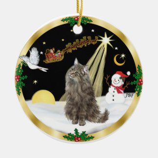 Night Flight (GW) - Norwegian Forest Cat Christmas Ornament