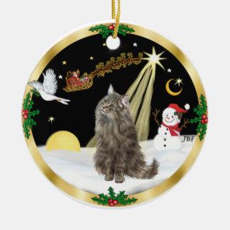 Night Flight (GW) - Norwegian Forest Cat Round Ceramic Decoration