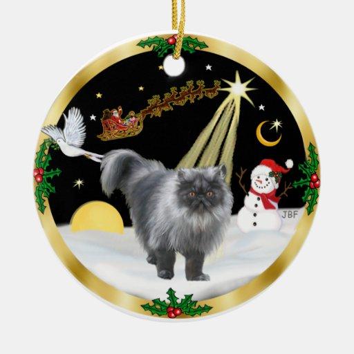 Night Flight (GW) - Persian cat (blue smoke) Christmas Tree Ornament