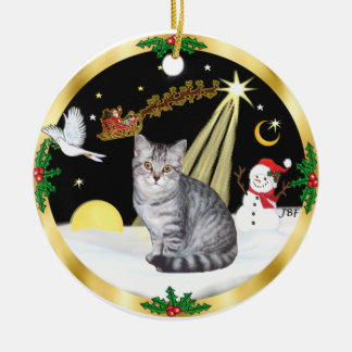 Night Flight (GW) - Silver Tabby cat Round Ceramic Decoration