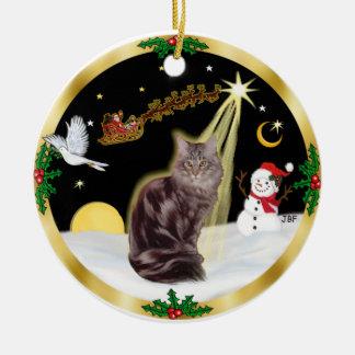 Night Flight - Maine Coon cat (tabby 10) Christmas Ornament
