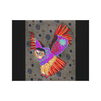 Night Flight Owl Wrapped Canvas Stretched Canvas Print