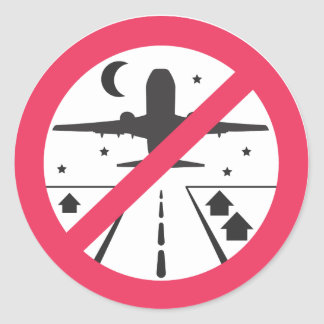 Night flight prohibition round sticker