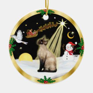 Night Flight - Seal Point Siamese cat Round Ceramic Decoration