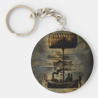 Night Flight Steampunk Flying Machine Basic Round Button Key Ring