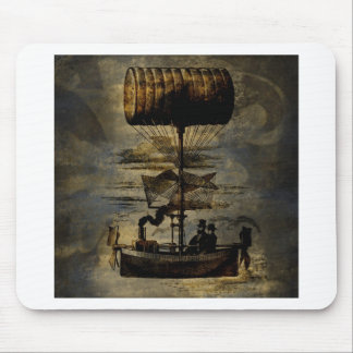 Night Flight Steampunk Flying Machine Mouse Pad