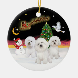 Night Flight - Three Bichon Frise Christmas Ornament