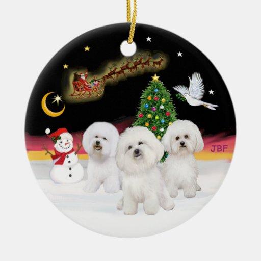 Night Flight - Three Bichon Frise Christmas Tree Ornament