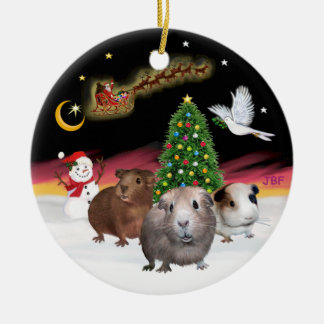 Night Flight - Three Guinea Pigs (Cavies) Christmas Ornament