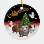 Night Flight - Three Guinea Pigs (Cavies) Christmas Ornament