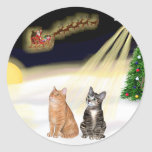 Night Flight - Two Tabby Cats Sticker