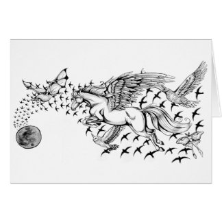 Night Flight Unicorn & Bird Notecard Note Card