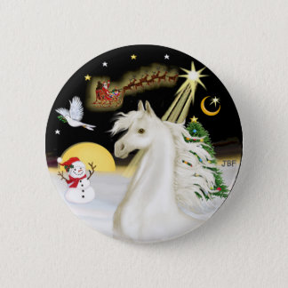 Night Flight - White Arabian Horse 6 Cm Round Badge