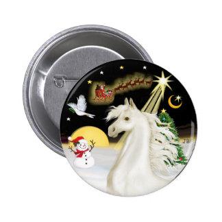 Night Flight - White Arabian Horse 6 Cm Round Badge