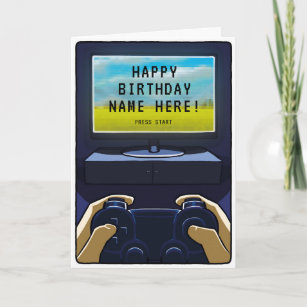 Night Gaming Gamer Birthday Card Personalisable