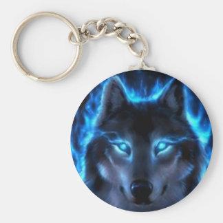 Night Ghost Wolf Key Ring