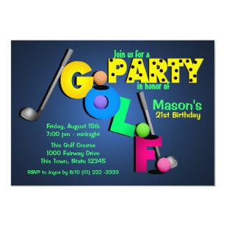 Night Glow Golf Party 13 Cm X 18 Cm Invitation Card