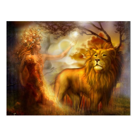 Night Goddess and Lion Postcard